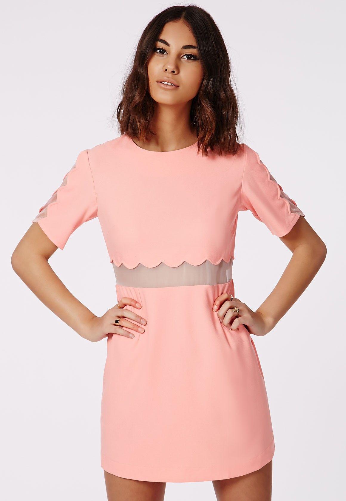 db41e1a86f0 Verity Crepe Scallop Shift Dress Pastel Pink - Dresses - Shift Dresses -  Missguided