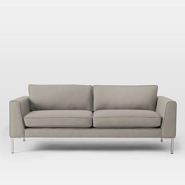 "Marco Metal Leg 77"" Sofa, Chunky Basketweave, Stone"