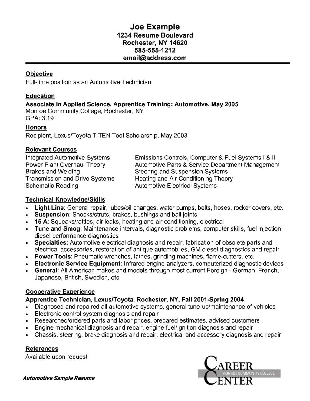 Cover Letter Sample For Banking Internship Resume Format Objective Examples Automotive  Technician