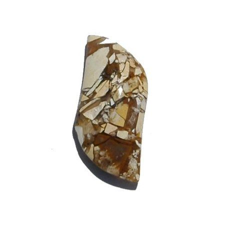 A brecciated variety of Mookaite has been found. It is from the same deposit as normal Mookaite, just a few levels deeper in the ground. This stone is composed of opaque segments bordered with translucent borders. This creates an interesting puzzle like mosaic of colors that ranges from mustard yellows, creamy whites and tan browns. This Brecciated Mookaite really holds together well and since almost all portions are the same hardness it takes an excellent polish with minimal undercut.
