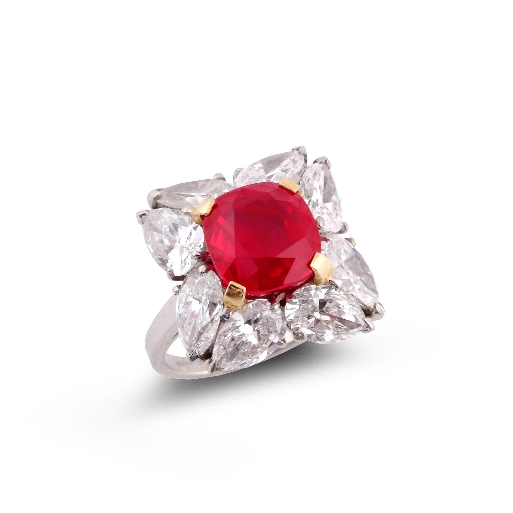 An important burmese ruby and diamond ring great looking