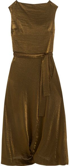 Vasari Draped Metallic Jersey Midi Dress - Gold Vivienne Westwood JPzLe