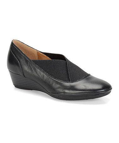 Another great find on #zulily! Black Caren Leather Wedge #zulilyfinds