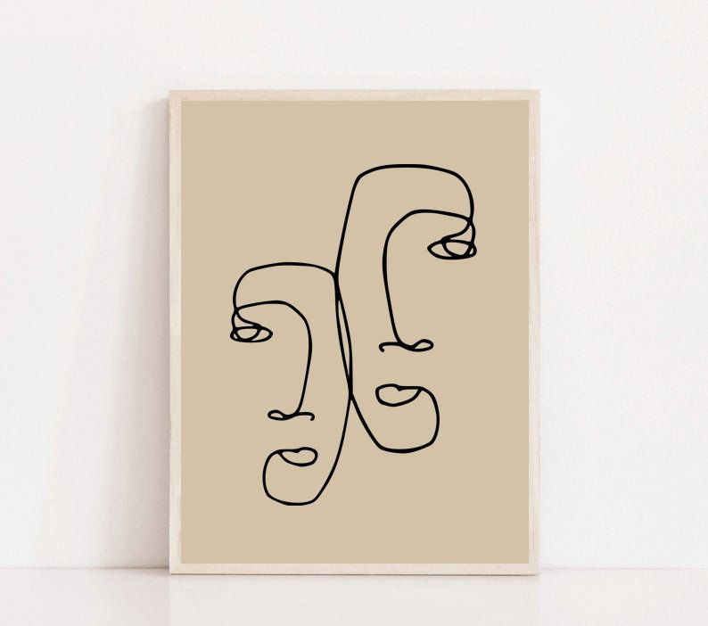 Abstract face printable one line print line art artwork