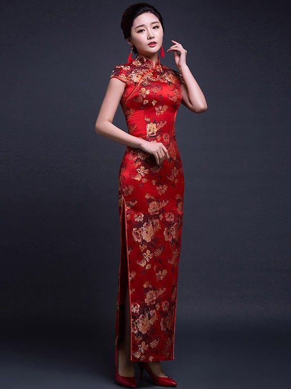 Red Silk Ankle-Length Qipao / Cheongsam Wedding Dress with Peony Pattern - CozyLadyWear
