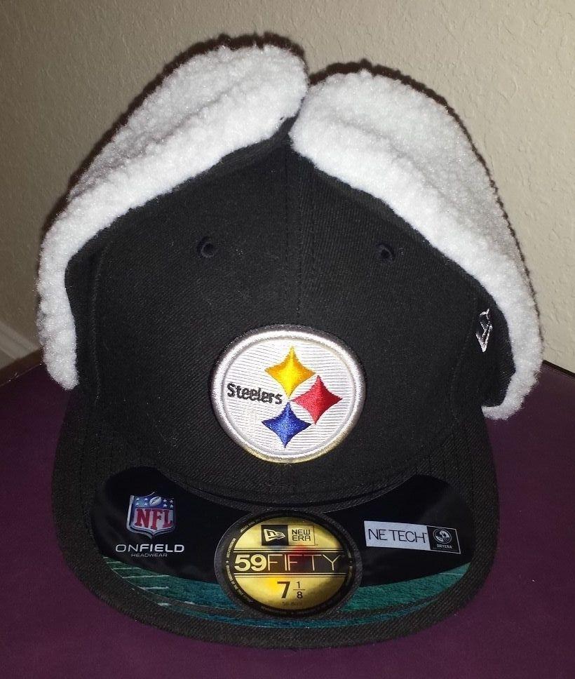 New Era Pittsburgh Steelers Dog Ear Hat Cap NWT 7 1 8 Fitted On Field Black  59Fifty d6811df5b0b1