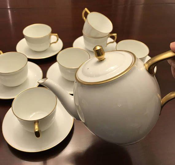 China Tea Set, Vintage Gold accented Luxury Okura Fine China