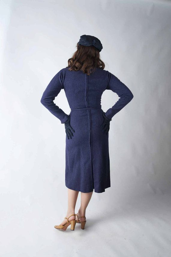 Vintage 1950s Dress Anne Fogarty Designer Purple Wool by FabGabs