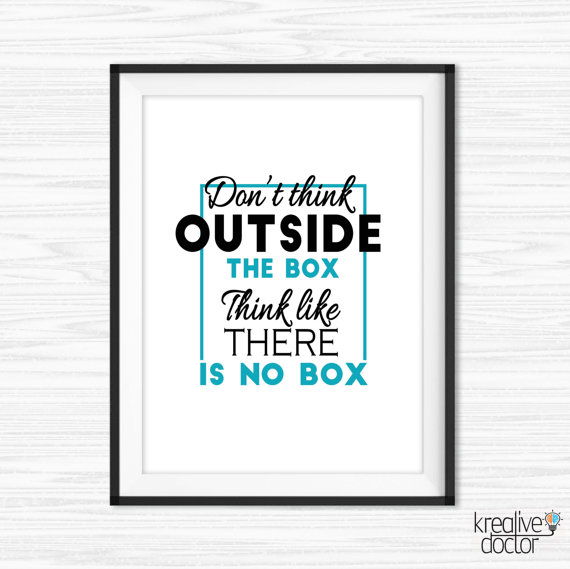 Think outside the box quote office wall quote office for Motivational quotes for office cubicle