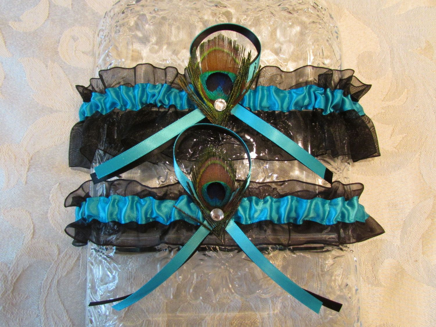 PLUSH PEACOCK WEDDING Garter Turquoise And Black With Rhinestones Set Bridal Prom By GarterPrincess On