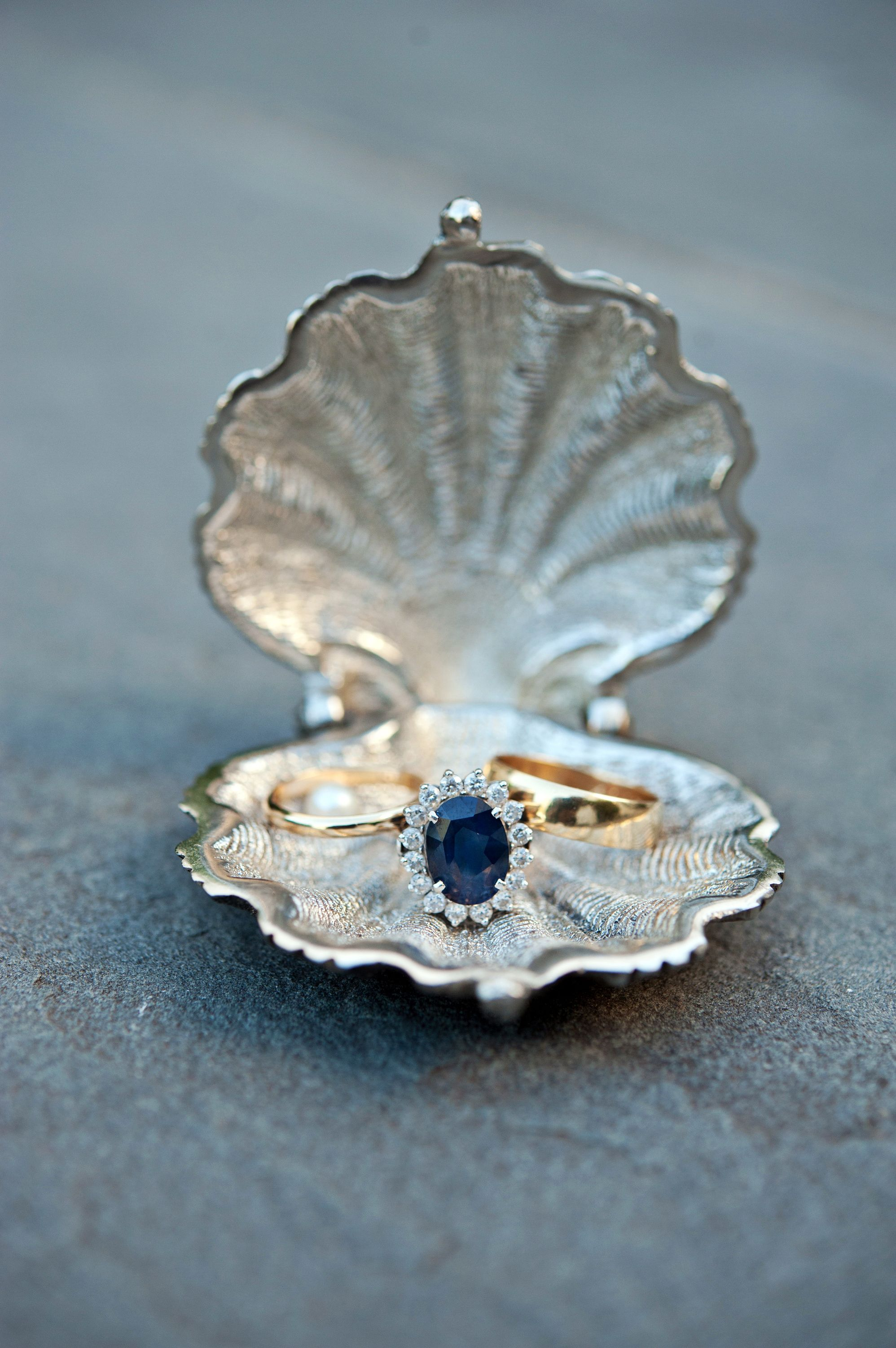Gold Wedding Bands and Sapphire Engagement Ring Silvery Seashell
