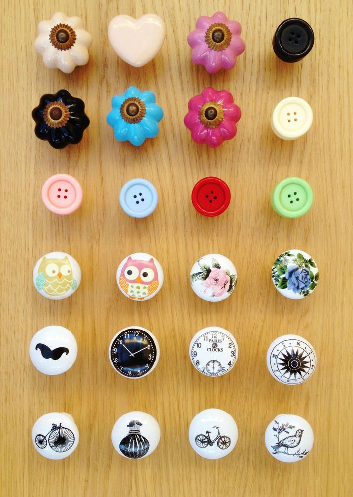 New selection wood glass ceramic flower round drawer knobs door ...