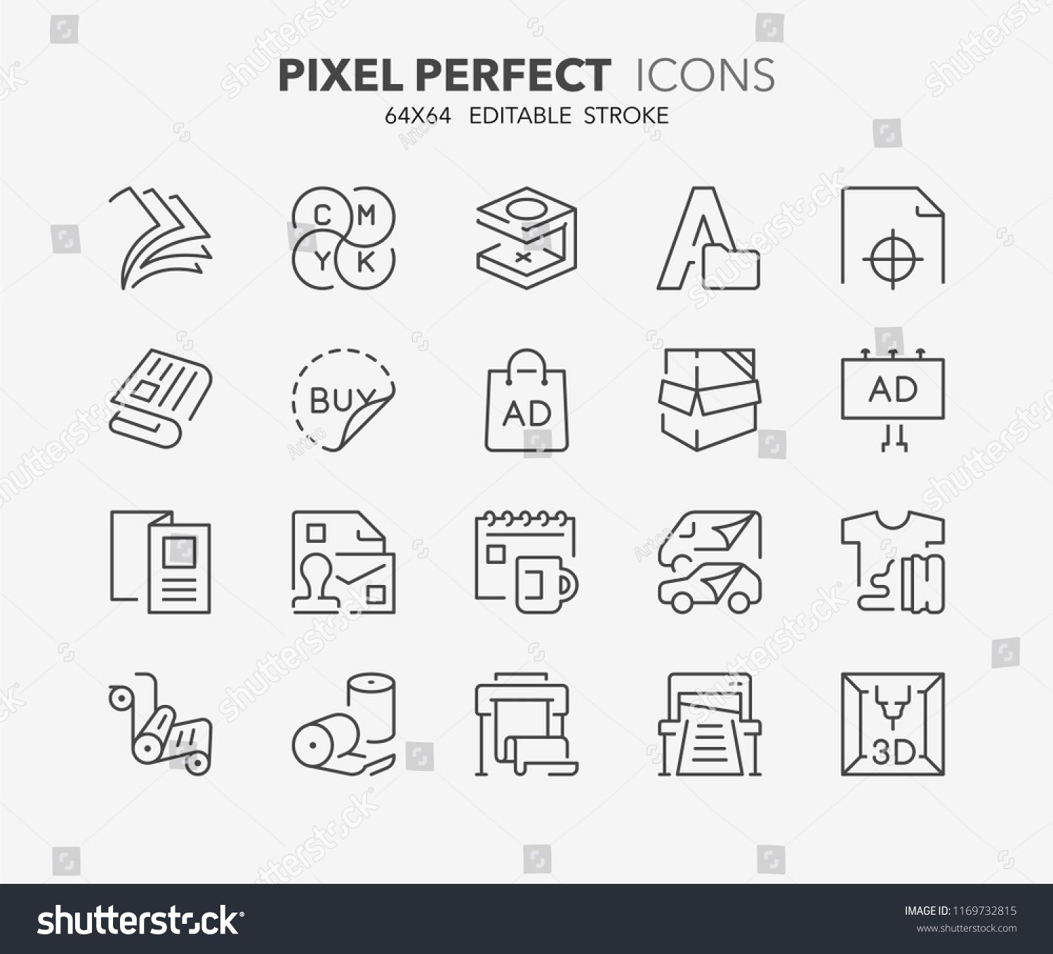 Thin Line Icons Set Of Printing Industry Outline Symbol