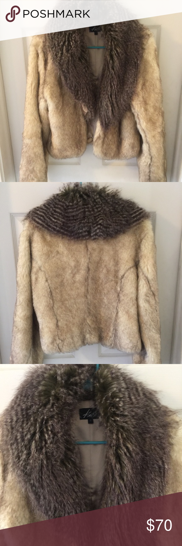 Faux Fur Coat Beautiful coat, fur very soft and plush. No signs of wear. Size S runs large. Has two hook closures. Kaity Jackets & Coats
