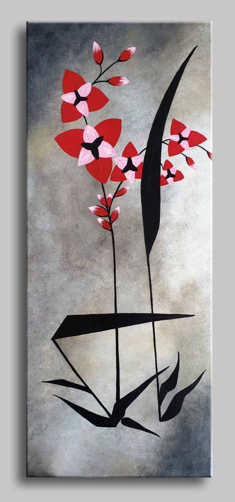 Abstract Asian Flowers Triptych Painting Original 3 Canvas Floral Acrylic On Canvas Home Wall Artwork Ready To Hang Made To Order Asian In 2020 Flower Painting Asian Flowers Wall Artwork