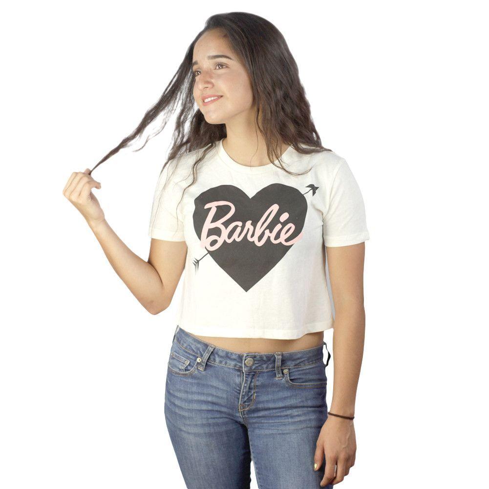 Barbie Black Heart Barbie Crop Top Beige T-shirt