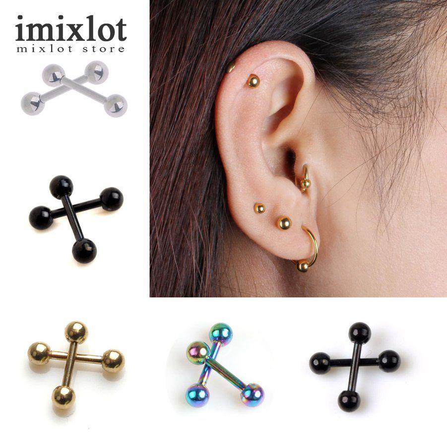 2pcs Ear Nail Bone Barbell Earring Piercing Helix Ear Stud Tragus Ear  Piercing Black Silver Gold