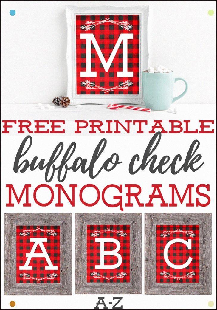 Free Printable Buffalo Check Monograms Printable Christmas ...