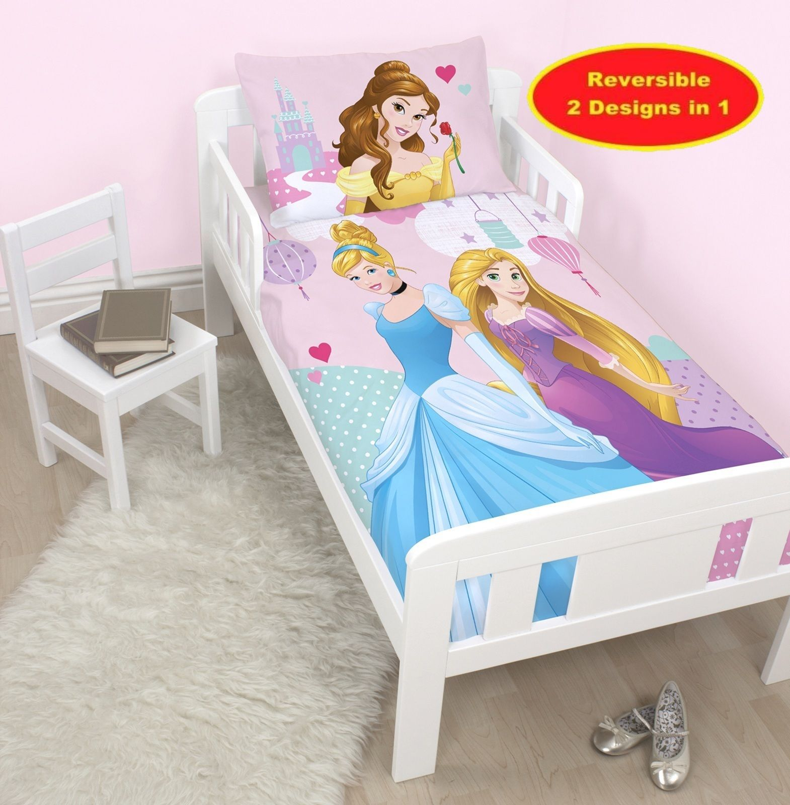 Disney Princess Enchanting Junior Cot Bed Duvet Cover Set Toddler