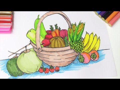 Color Fruits Basket   Coloring for Kids   Learn Fruits for ...