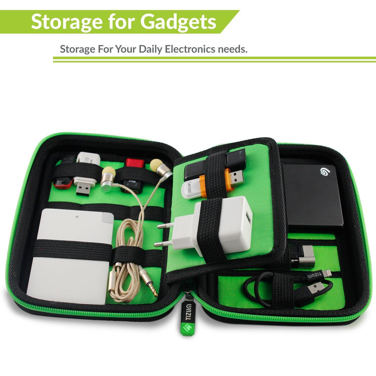Portable Universal Electronics Travel Organizer Gadget Accessories Carry Bag Rugged Shock Proof