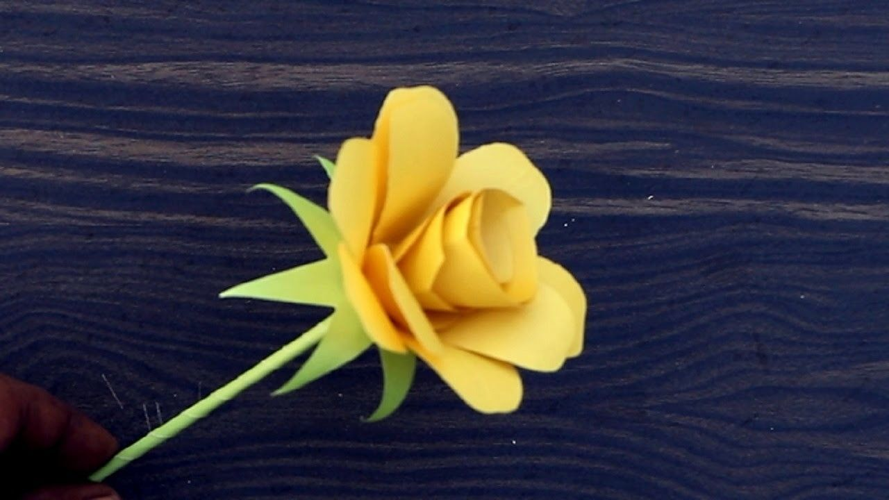 How to make origami paper yellow rose papercraft pinterest diy