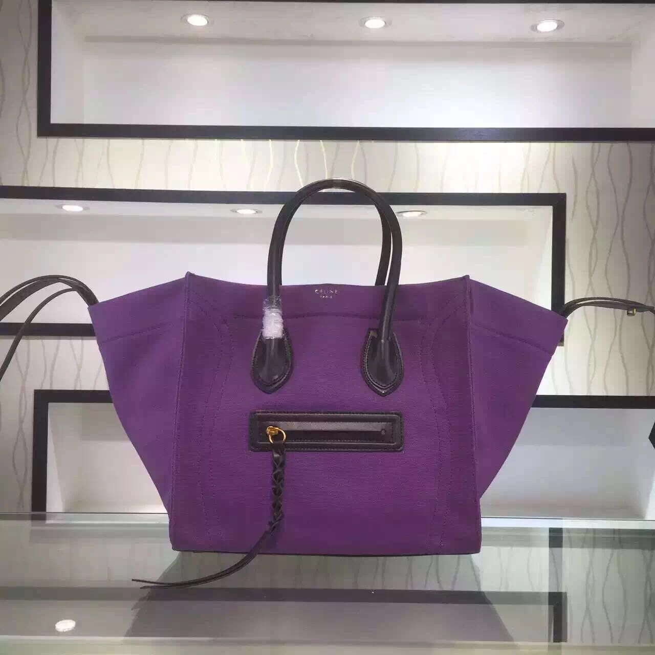 S/S 2016 Celine Cheap Bags Outlet Online -Celine 30CM Luggage Phantom Handbag in Black Leather and Purple Canvas