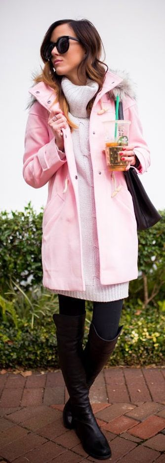 Pink Faux Fur Detail Duffle Coat by Sequins & Things