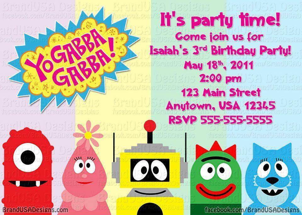 Free FREE Template Yo Gabba Gabba Birthday Invitations Baby - birthday invitations free download