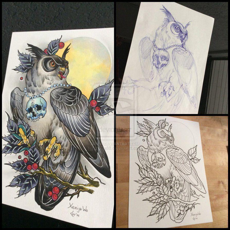 tattoodesign owl with moon by xenija88 eulentattoos pinterest tattoo ideen und eule. Black Bedroom Furniture Sets. Home Design Ideas