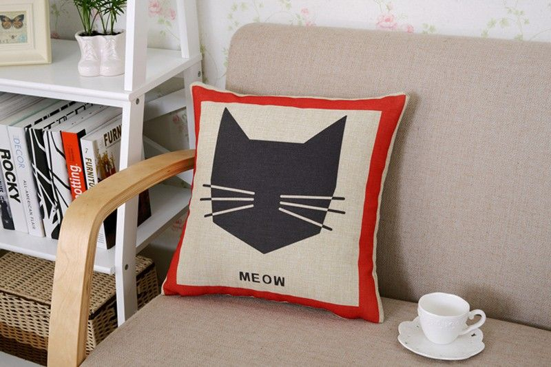 Poszewka Na Poduszke Kot Nadruk Wzory Len Bawelna 5651390355 Oficjalne Archiwum Allegro Cushion Cover Throw Pillows Pillows