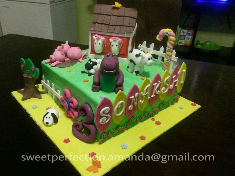 Chicken Birthday Cake For Dogs ~ Farm theme cake with an added barney square cake with handmade