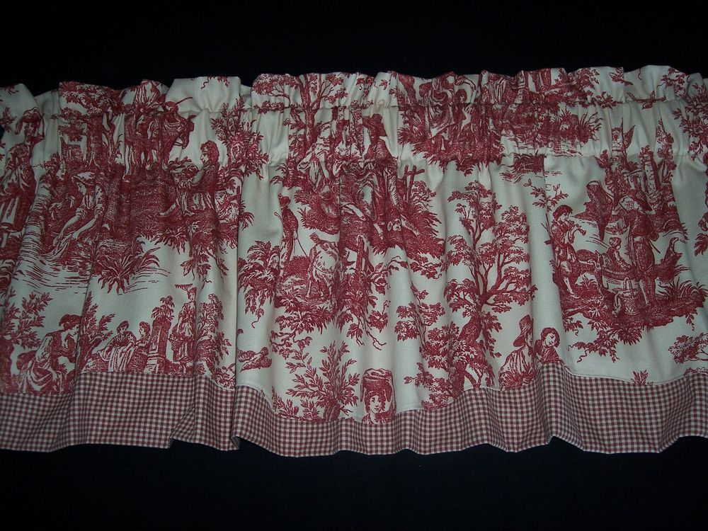Details About Red On Cream Waverly Country Life Toile Scalloped Check Trim Valance Curtains Valance Curtains Valance Curtains