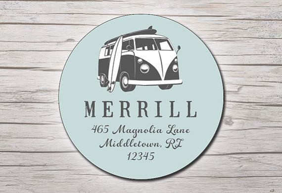 Beach round address labels or stickers vw bus set by moxypaperie 15 00