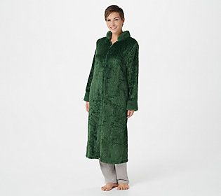 Take comfort to the next level with this silky shag robe. Featuring a zip-up design, it has a no-muss, no-fuss silhouette! From Stan Herman.