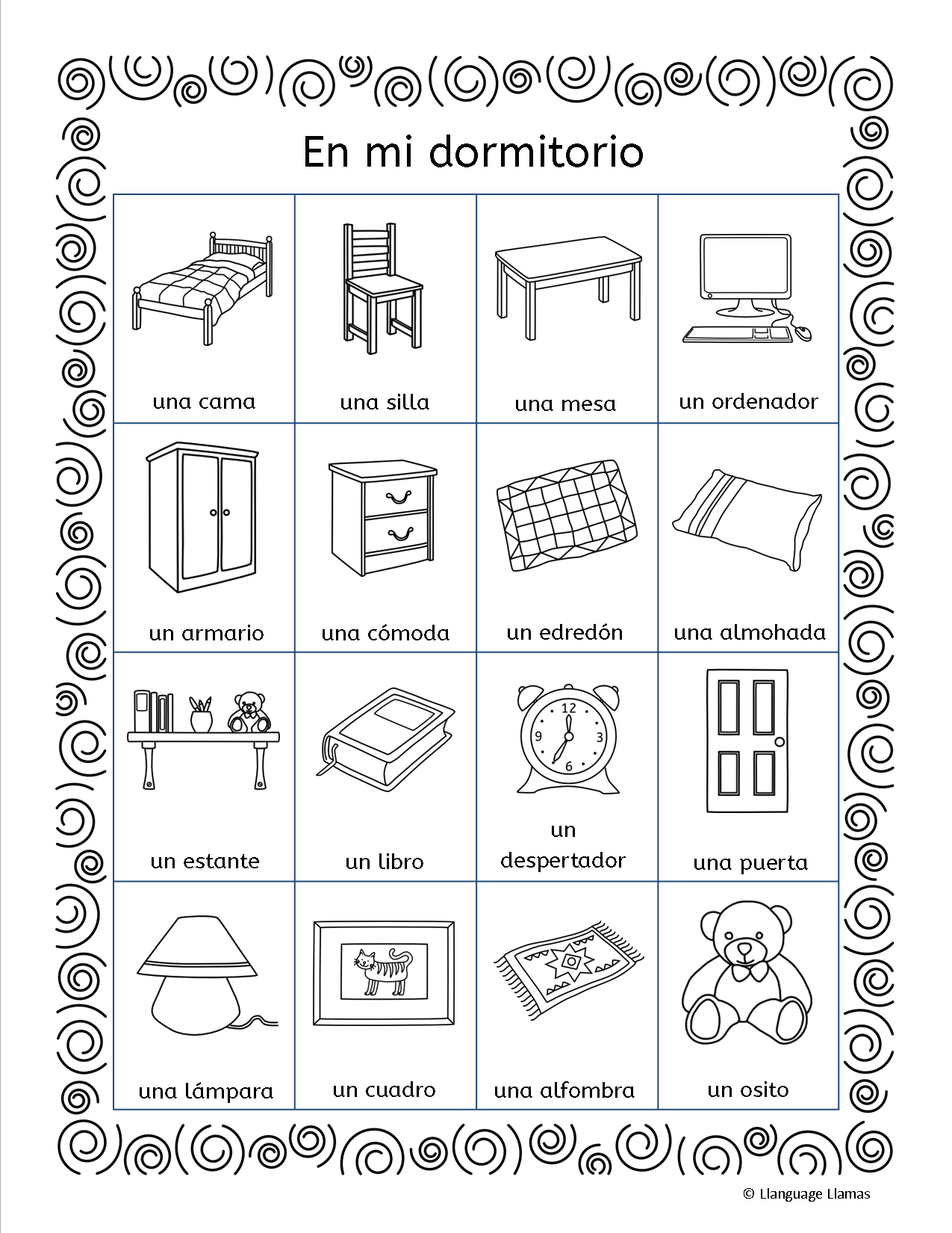 Spanish Bedroom Vocabulary List