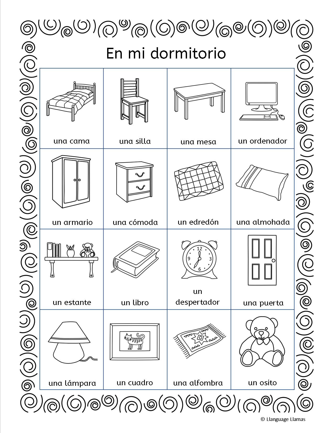 Mi Dormitorio Flashcards Word Wall Handout Worksheets Flip