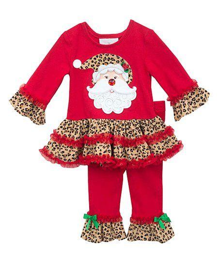7beb088dbb744 Rare Editions Red Santa Leopard Tutu Tee & Leggings - Infant | zulily