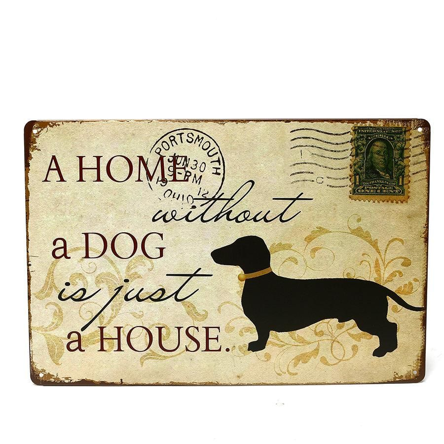 Dog Music Iron Metal Poster Tin Sign Plate Wall Decoration Vintage ...
