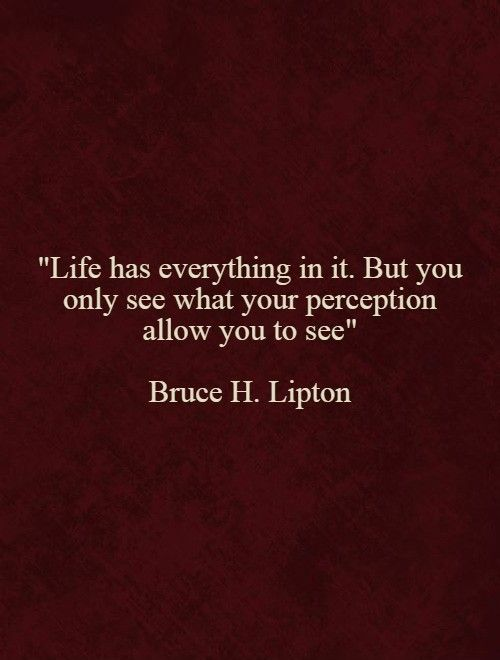 Your life is your perception