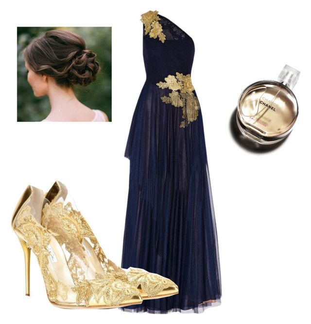"""""""Goddess Formal"""" by madison-logan ❤ liked on Polyvore featuring Mikael Aghal, Oscar de la Renta, Hermès, women's clothing, women, female, woman, misses and juniors"""