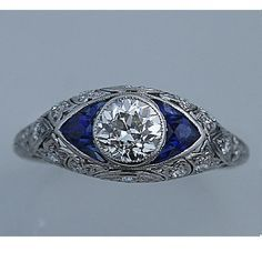 Art Deco Platinum Old European Cut Diamond Engagement Ring Circa Early 1900's