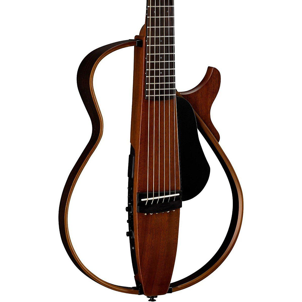 """Yamaha 2015 Steel String Silent Guitar with Gig Bag - Natural Finish . Authentic plugged-in sound by SRT PoweredSuper-compact, collapsible constructionUnique, striking looksUltra-quiet performanceSlim body like an electric guitarBody Body type: Classical Cutaway: Single cutaway Top wood: Mahogany Back & sides: Mahogany (no back) Bracing pattern: Not applicable Body finish: Gloss Orientation: Right handed Neck Neck shape: Nut width: 1.69"""" (43mm) Fingerboard: Rosewood Neck wood: Mahogany…"""