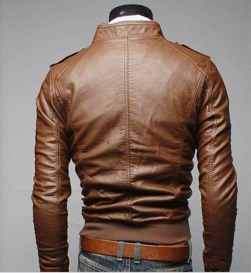 leather jacket men 2015 New men leather jacket High quality leather motorcycle jacket standing collar jaqueta de couro masculina
