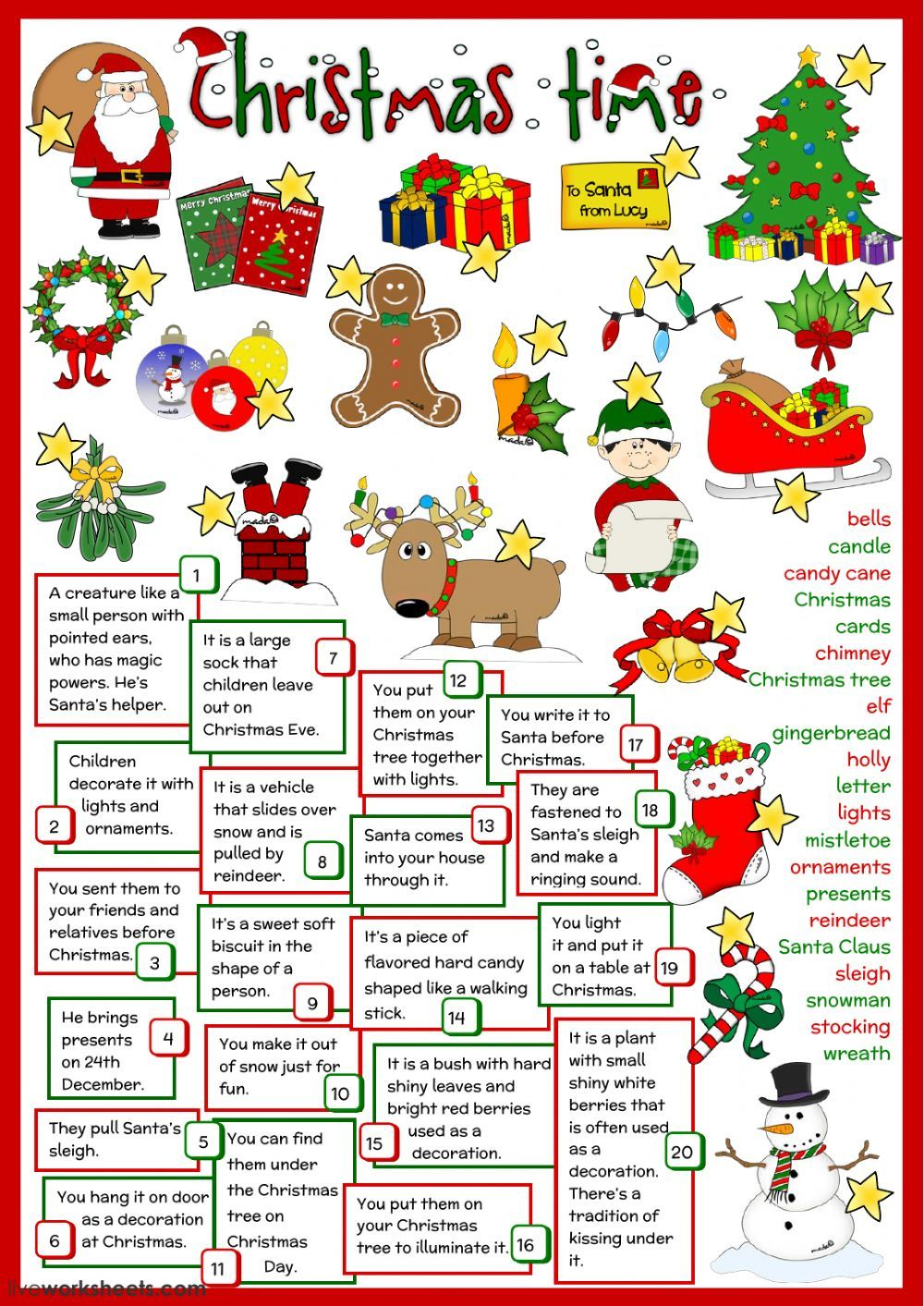 Christmas interactive and downloadable worksheet. You can