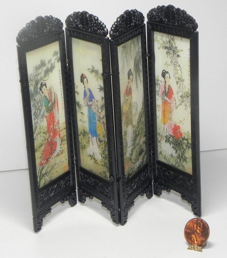 Dollhouse miniature oriental screen room divider woman design