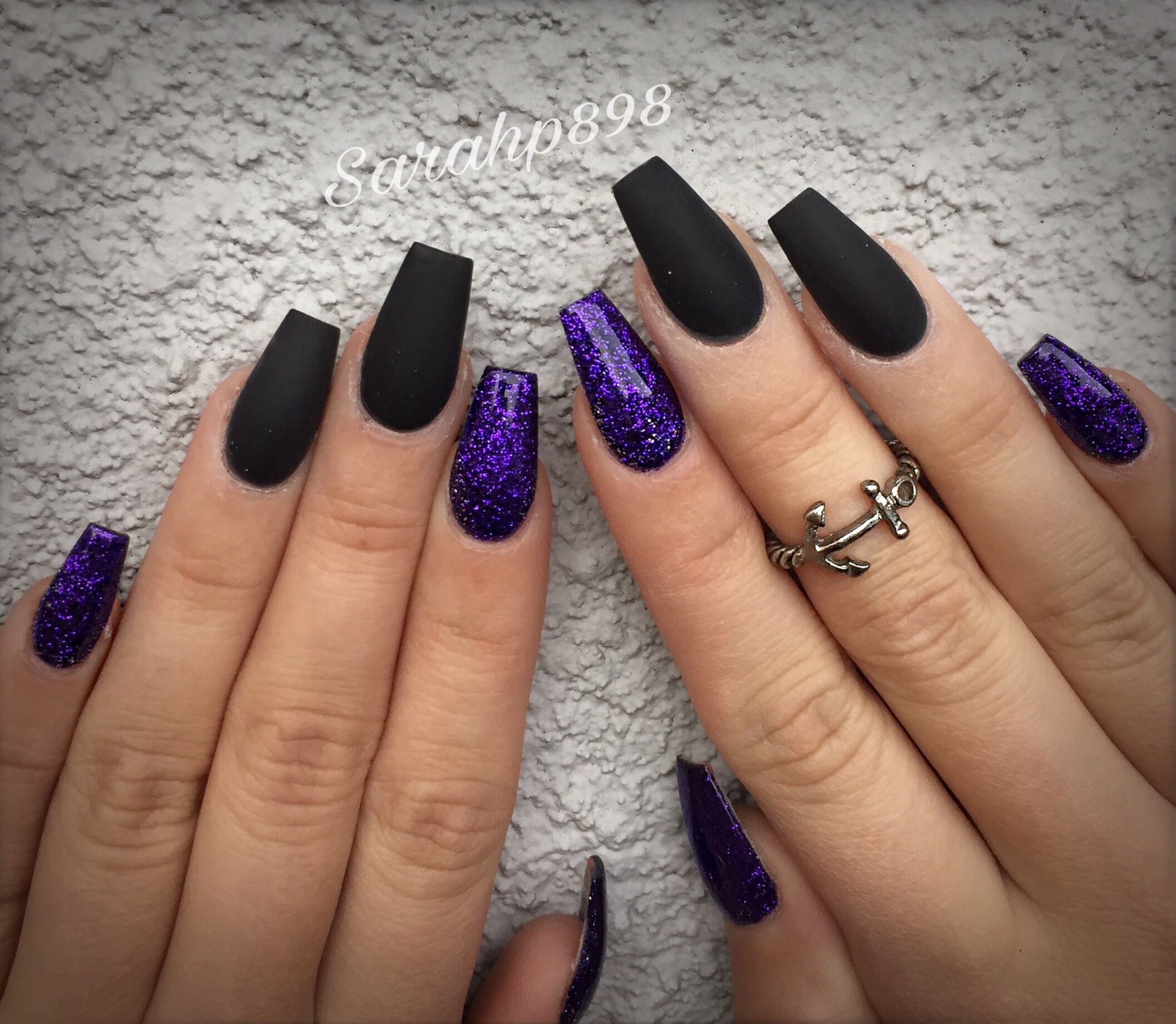 Matte black nails #matteblack #coffinnails | Pretty ...