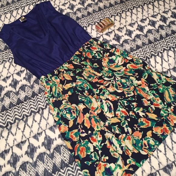 Floral print dress • Photo is staged all items available in different listings • Worn a few times • No damage • Blue top with floral bottom • Francesca's Collections Dresses