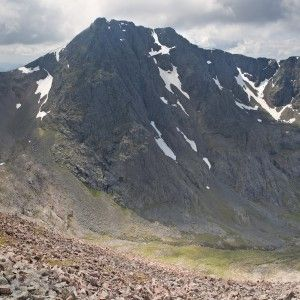 Lochaber Geopark, Scotland.  Geology -- Ben Nevis is a spectacular example of a caldera structure, which occurs when the roof of a volcano collapses into the hollow magma chamber underneath.  In the case of Ben Nevis the rocks seen on the North Face fell 600m !