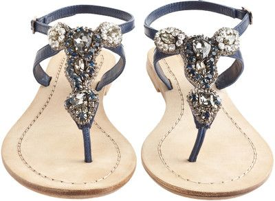 Jeweled sandals, Navy blue flat sandals